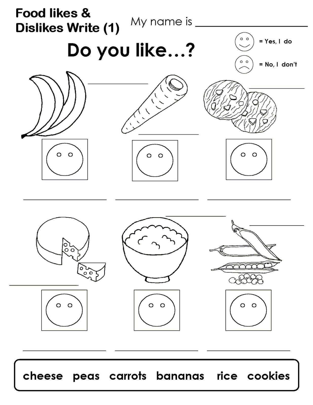 Worksheet Kindergarten English Activities my english blog likes and dislikes posted