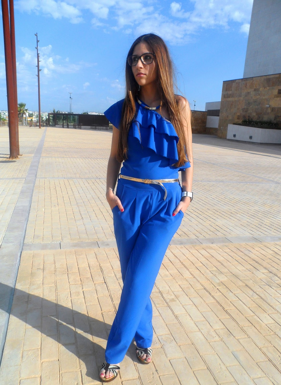 BLUE LONG JUMPSUIT