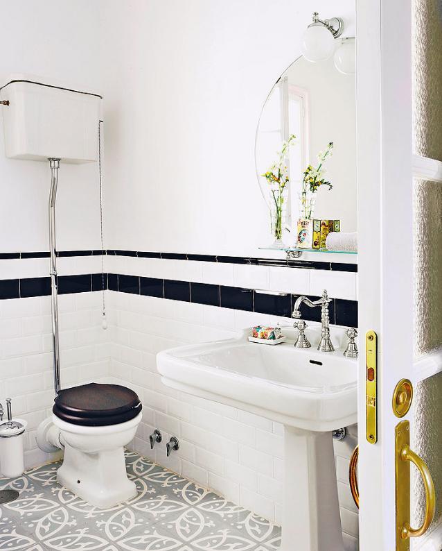 Deco ba o de est tica vintage en blanco y negro - Como decorar un bano blanco ...