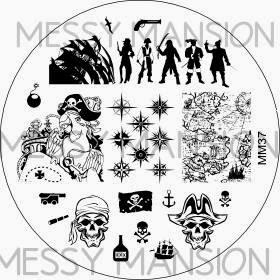 Lacquer Lockdown - Messy Mansion, stamping, new stamping plates 2014, new image plates 2014, new nail art plates 2014, pueen 2014, diy nails, nail art, cute nail art, easy nail art, indie plates, MM37, pirate nail art, pirates, waves, ships, parrots, treasure maps, anchors, cannonballs, rum
