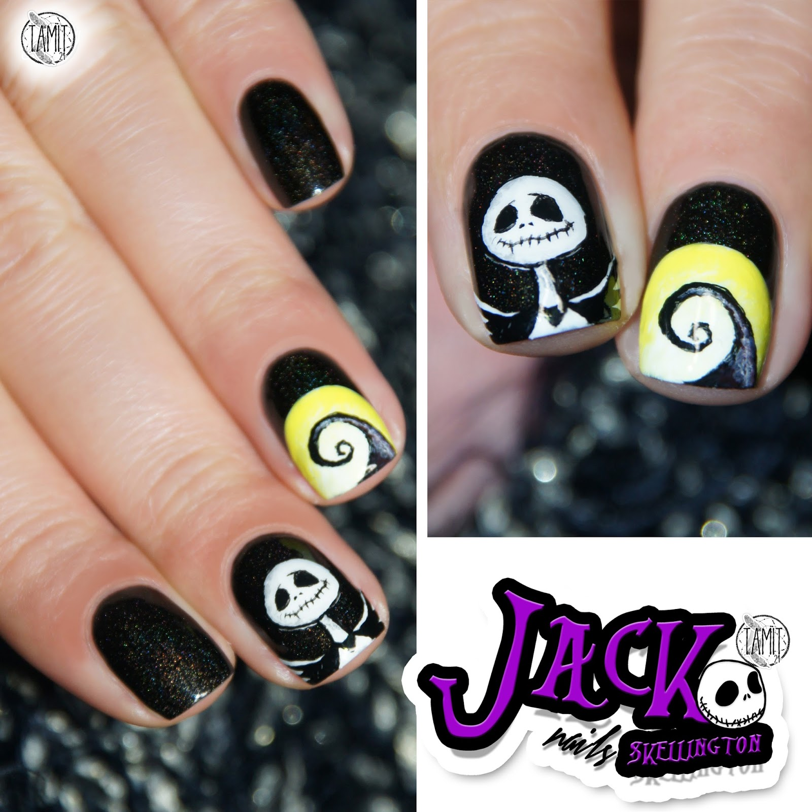Fall In Ilove Jack Skellington Nails Tutorial Halloween 2014