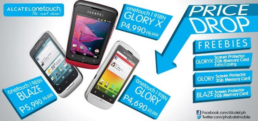 alcatel ot glory x and 985n blaze price drop promo 2013 gbsb techblog your daily pinoy. Black Bedroom Furniture Sets. Home Design Ideas