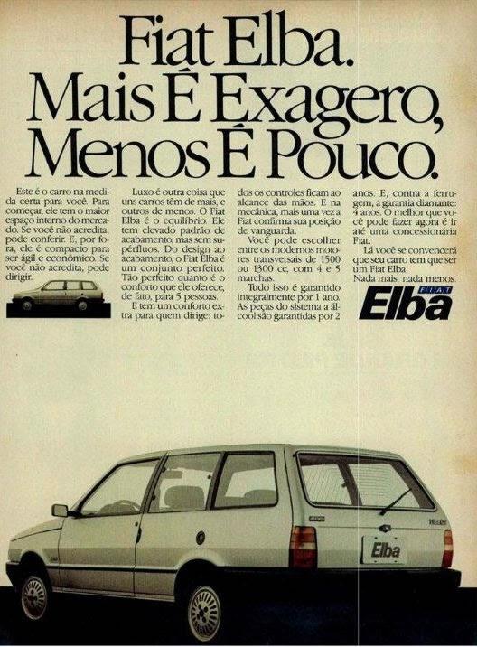 Propaganda de lançamento do Fiat Elba em 1986. Versão perua do Fiat Uno.
