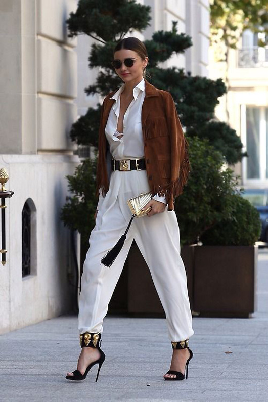 how to wear jumpsuit trend street style Miranda Kerr