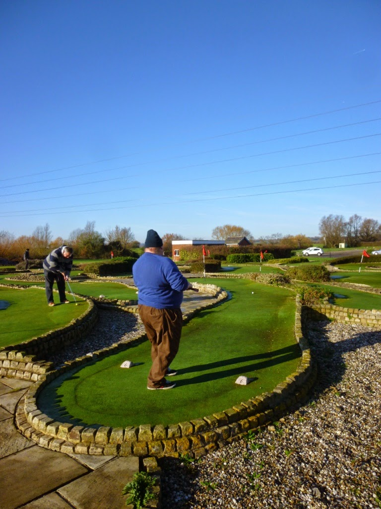 Mark Wood launches at shot at the Cambridgeshire & Essex Mini Golf Club Invitational Tournament at the Dunton Hills Family Golf Centre in West Horndon, near Brentwood, Essex
