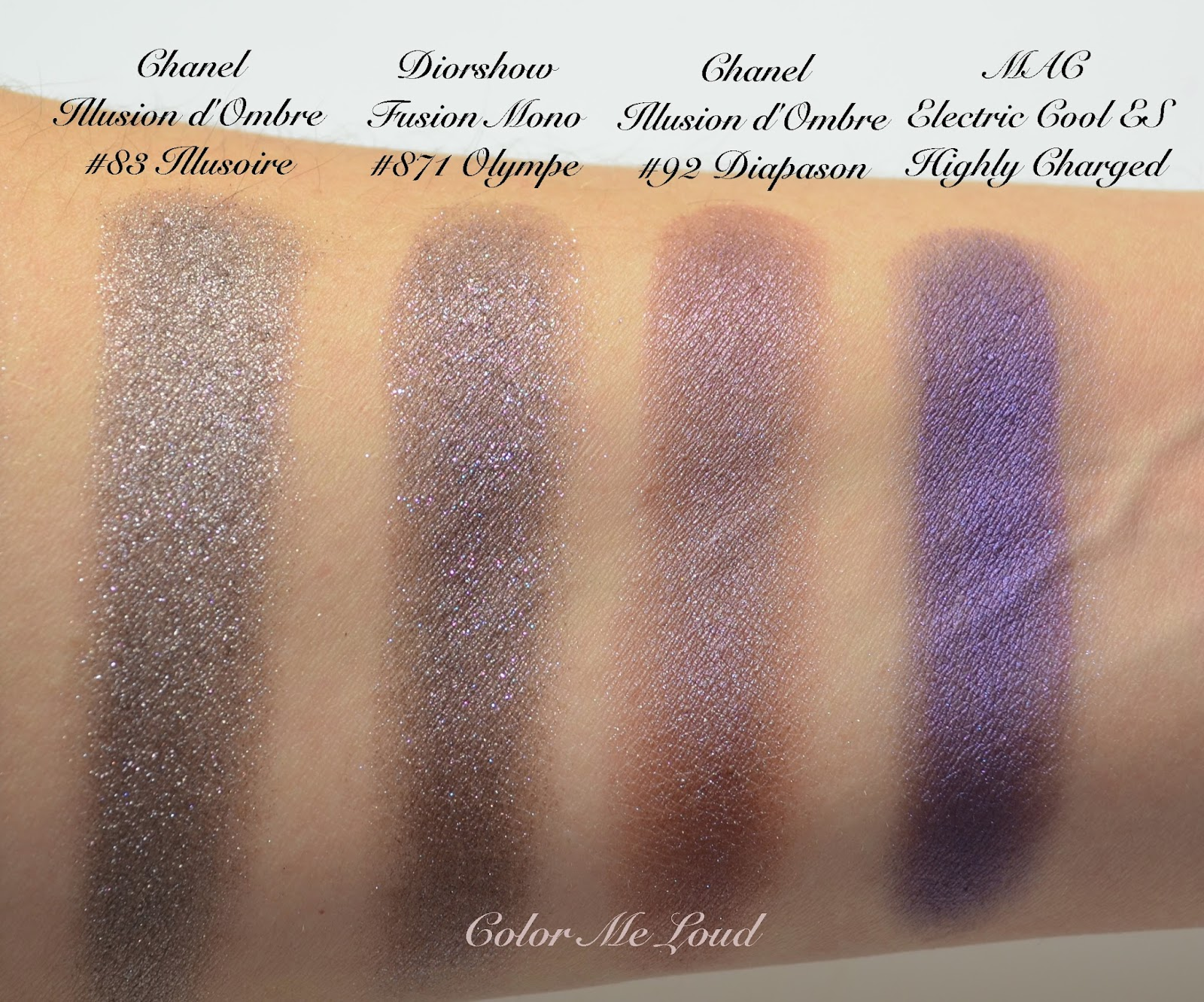 Comparison swatches: Diorshow Fusion Mono #871 Olympe