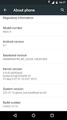 Lollipop update for moto X 1st gen 2013