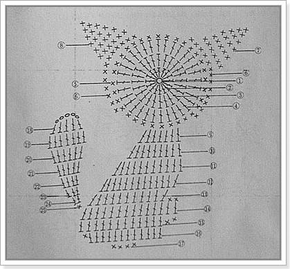 Схема вязания кисы с бантиком.