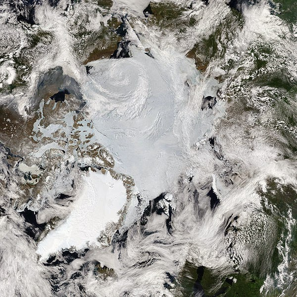 Mosaic of images of the Arctic by MODIS. (Credit: NASA) Click to enlarge.