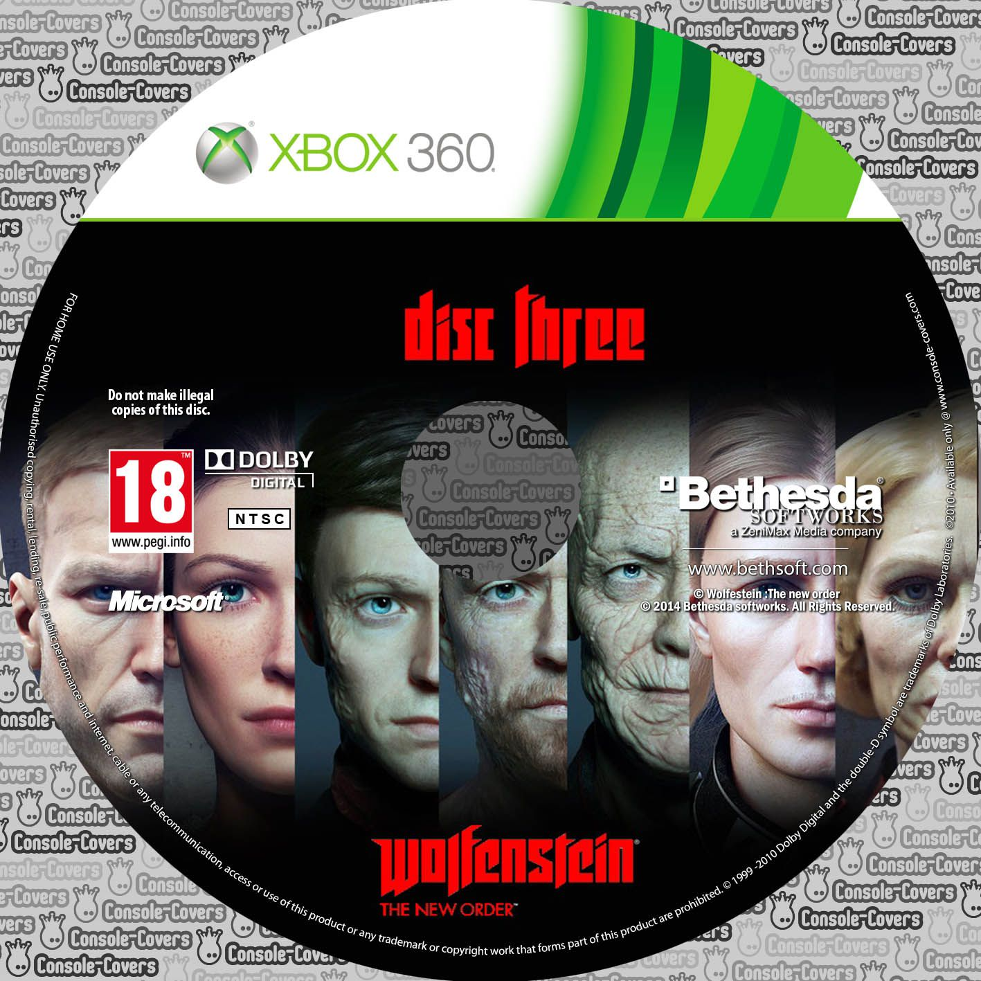 Label Wolfenstein The New Order Disc Three Xbox 360
