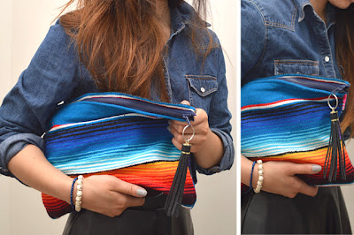 diy blanket clutch upcycled from a stripey wool blanket