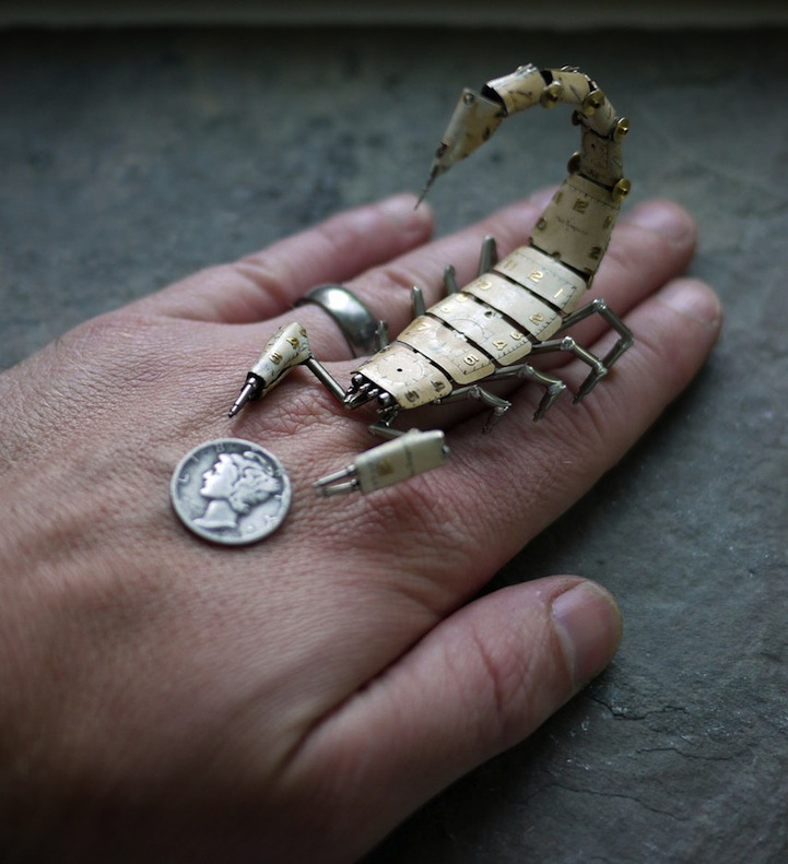 Tiny Mechanical Insects Made of Watch Parts
