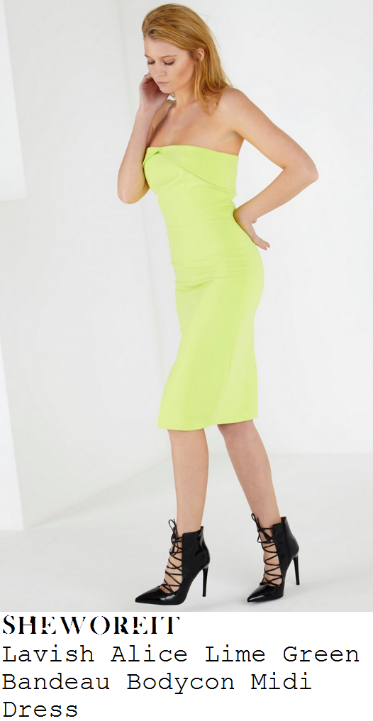 vicky-pattison-lime-green-strapless-fold-detail-bodycon-midi-dress-sun-bizarre-party