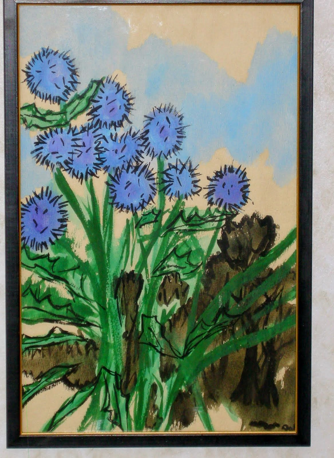 Summer Thistles my first watercolor