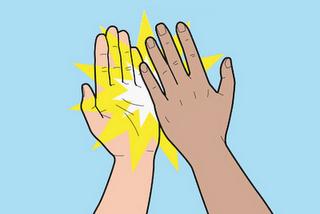2 hands high fiving logout