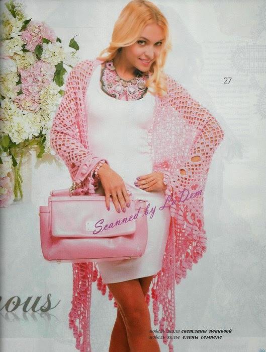 Patron de Chal / mantón en tono rosa al crochet