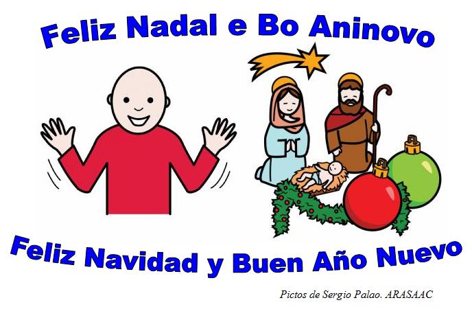 Pictogramas, símbolo de la felicidad y figuras del Bélén. Feliz Nadal e Bo Aninovo. Feliz Navidad y Buen Año Nuevo