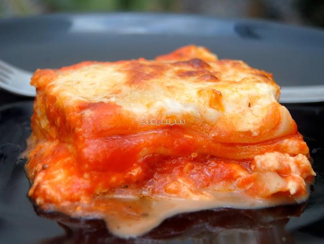 Lasaña Margarita con salsa de tomate y mozzarella