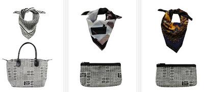 Pañuelo de seda con bolso a juego