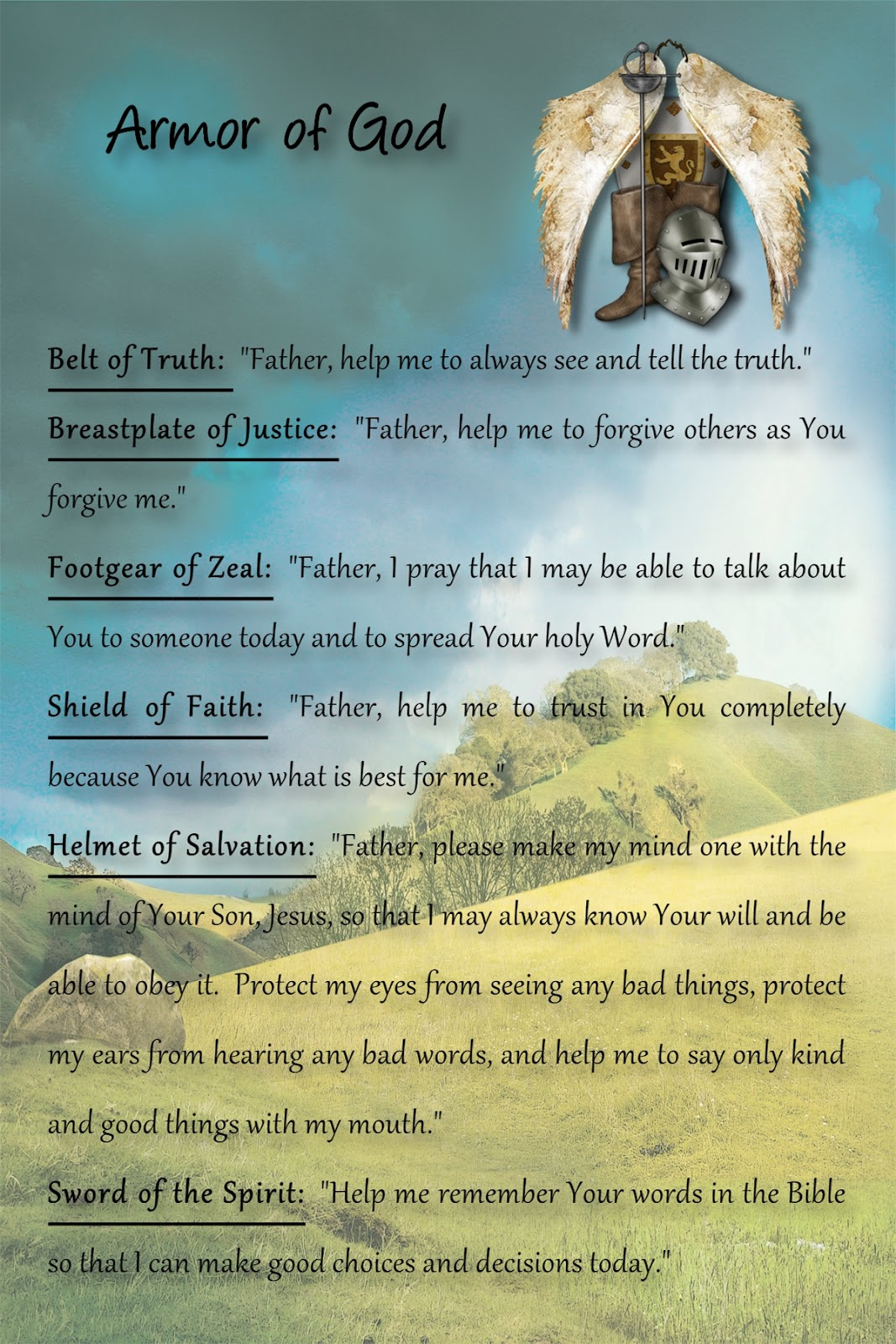 messages for the soul the armor of god
