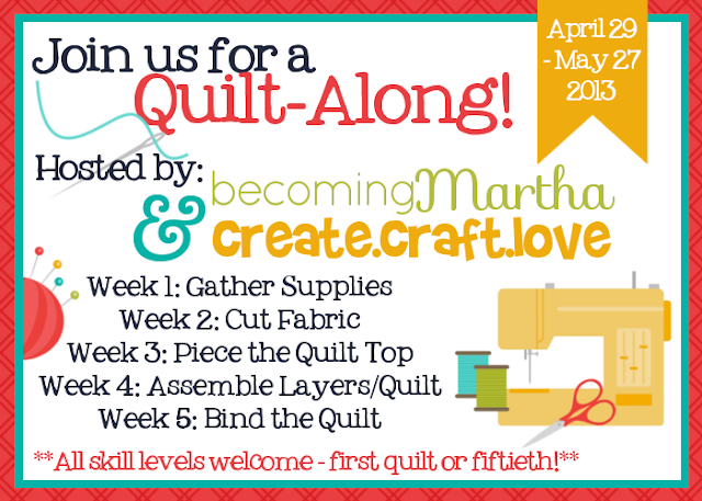 Quilt Along via createcraftlove.com and becomingmartha.com #quilting