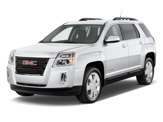 Front 3/4 view of white 2011 GMC Terrain