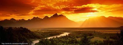 Couverture facebook avec paysage coucher de soleil