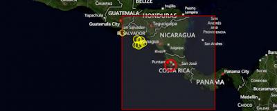 Epicentro terremoto 7,9 grados en Costa Rica, 05 de Septiembre 2012