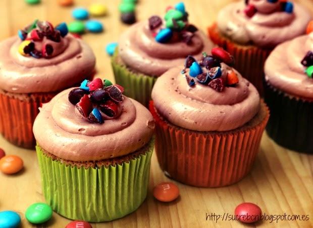 receta cupcakes nutella, nocilla, m&m's, m&ms, lacasitos, cupcakes infantils, cupcakes infantiles, cupcake xocolata, cupcake chocolate