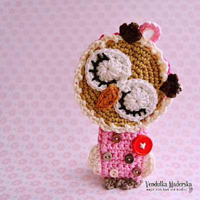 Crochet sleeping owl ornament