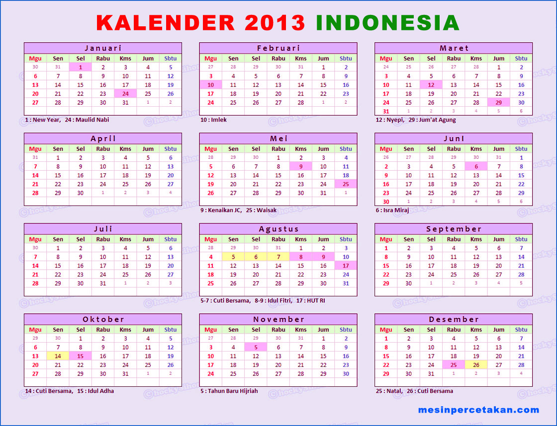 Calendar Mesin Perforator MULTIFUNGSI. Read more  » Holidays