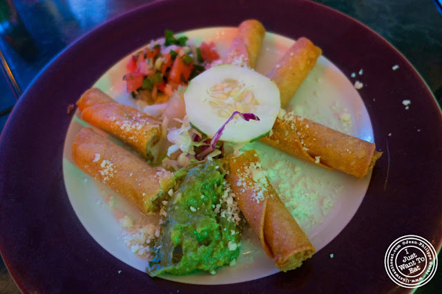 image of chicken flautas or taquitos at El Maguey Y La Tuna on the Lower East Side, NYC, New York