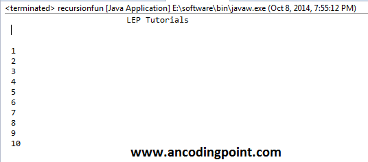 Print 1 to 10 Number without Loop in Java
