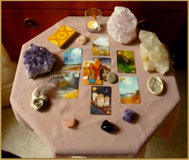 Celtic Lenormand, Healing Spell, mountain, clouds, heart, coffin, birds, sun, lily, woman, lenormand update