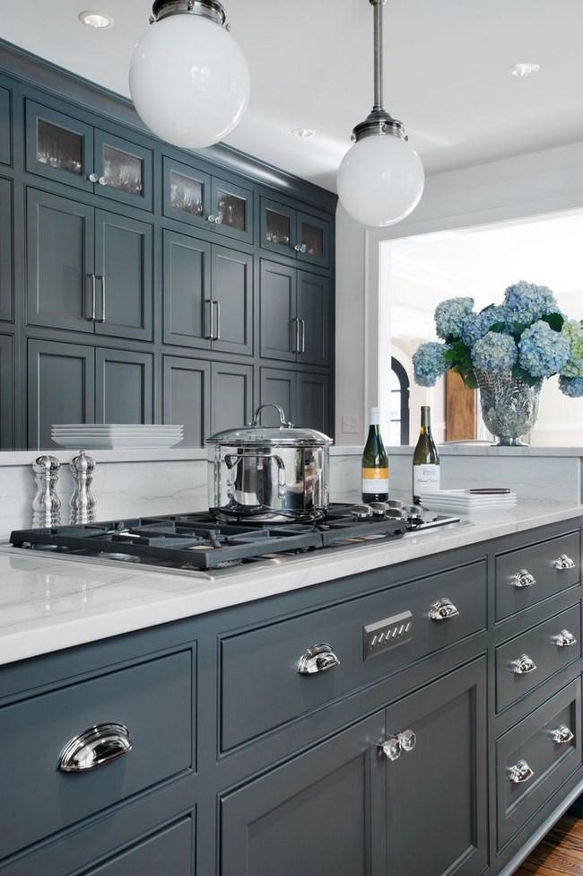 de estas cocinas grises, ¿no os parece preciosa? La combinación de