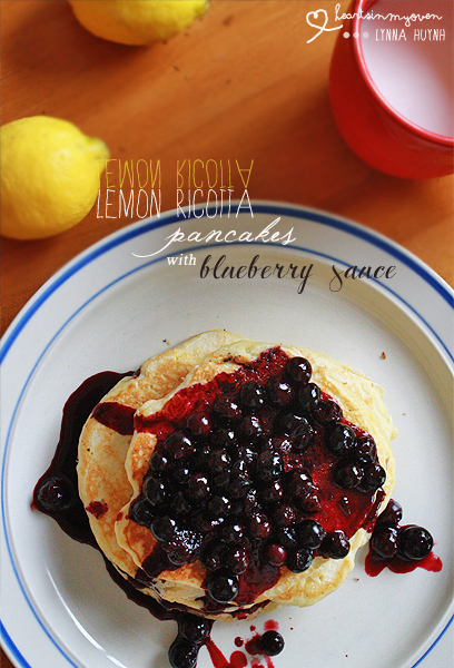 Hearts in My Oven: Lemon Ricotta Pancakes with Blueberry Sauce