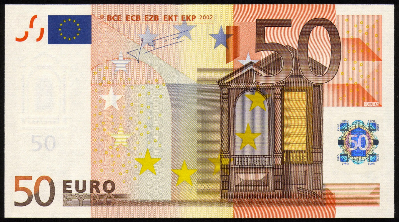Currency of the Eurozone 50 euro banknote 2002 European Central Bank