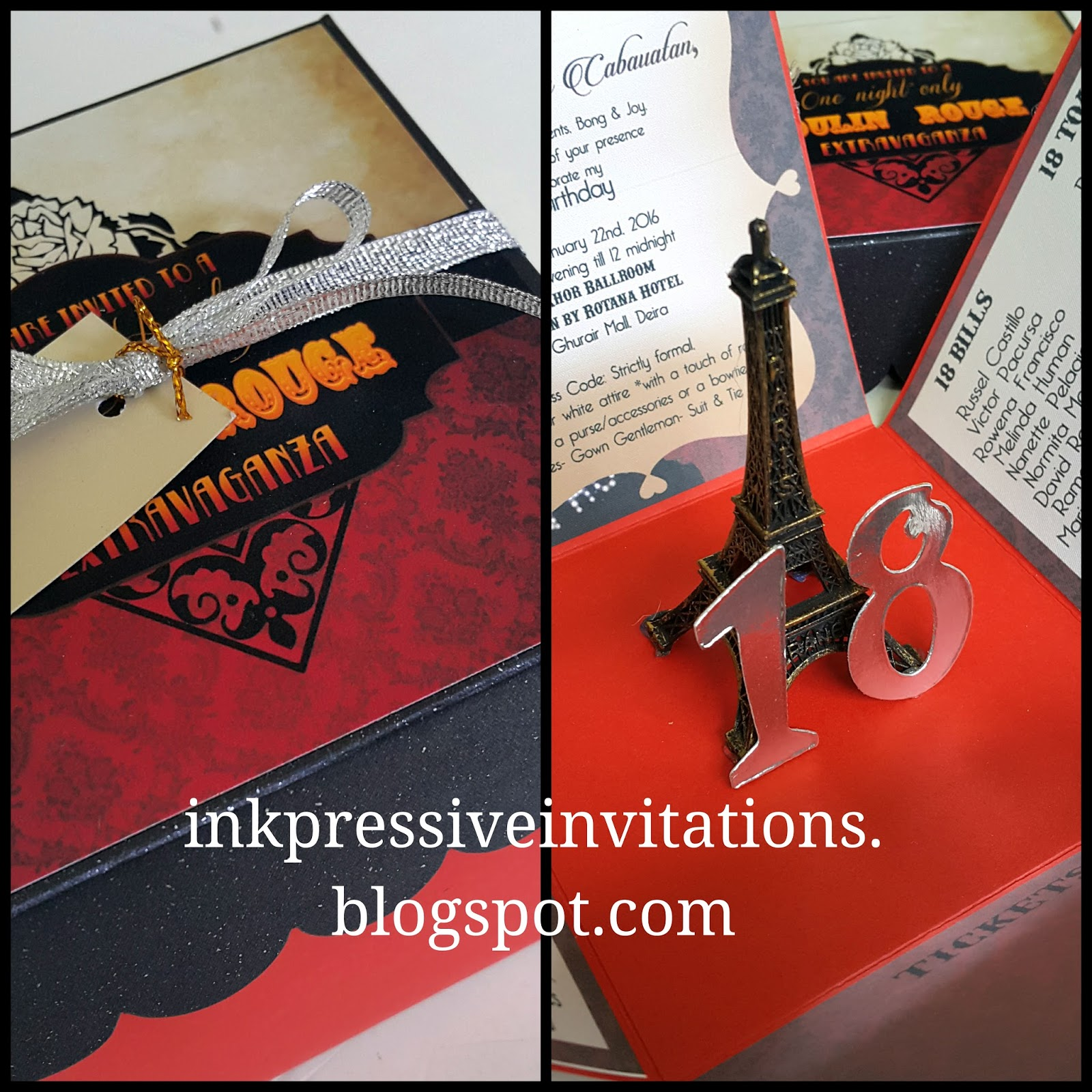 Moulin Rouge Eiffel Tower Paris Debut invitation DEBUT INVITATIONS