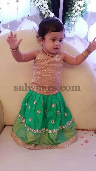 Baby in Sea Green Silk Skirt