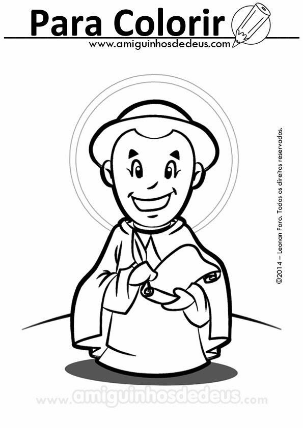 São Tomás de Aquino desenho para colorir