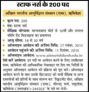 AIIMS Rishikesh Latest Staff Nurse Grade-II Recruitment November 2015