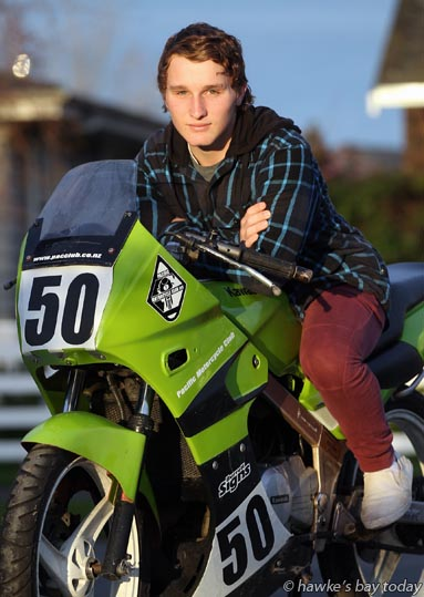 Daniel Phillipson, 17, Napier, leading the championship in his first year of Winter Series motorcycle racing in the Pacific Motocycle Club's development race class photograph