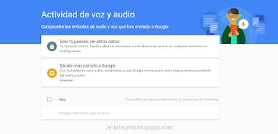Actividad de voz y audio de Google
