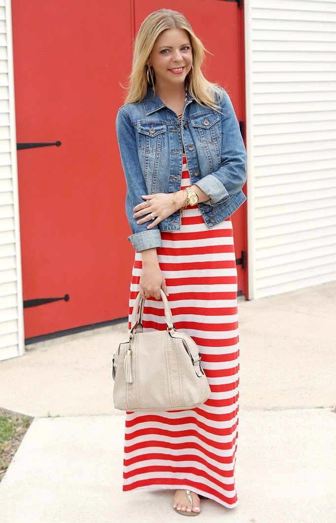 Stripe Maxi Dress Denim Jacket