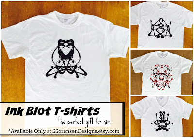 great gift idea for a counselor, social worker, psychologist, psychiatrist, doctor, high school teacher, college professor - Ink Blot T-shirts from SSorensenDesigns.etsy.com