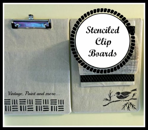 Senciled Clip Boards - Dollar Tree clip board coverd with drop cloth fabric and stenciled with sharpie markers