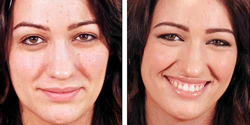 Maquillaje antes y despues para endulzar los rasgos