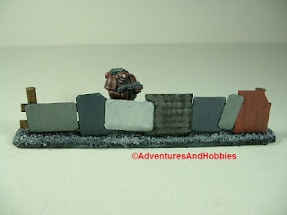 Urban 25-28mm war game terrain battlefield barricade made from scrap metal - close-up 2
