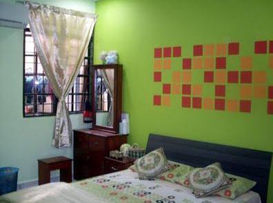 rumahku-syurgaku: dekorasi bilik tidur berwarna hijau