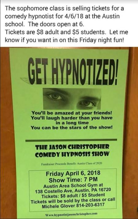 4-6 Get Hypnotized Austin School Gym